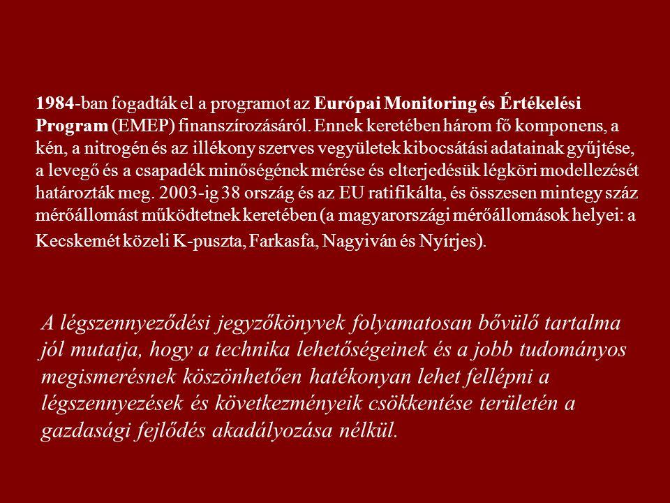 1984-ban fogadták el a programot az Európai Monitoring és Értékelési Program (EMEP) finanszírozásáról. Ennek keretében három fő komponens, a kén, a ni