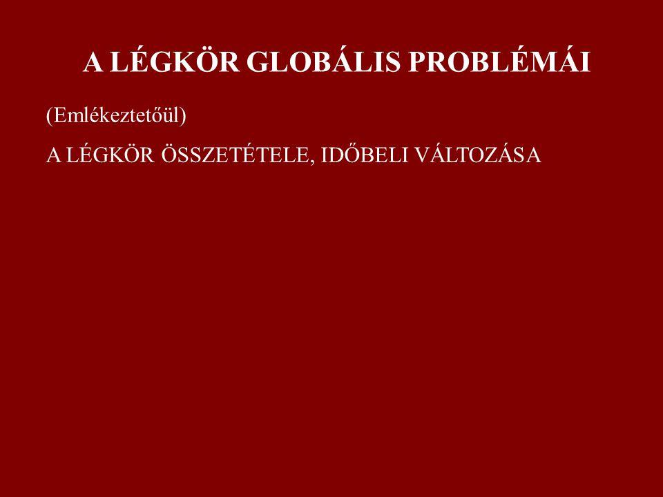A LÉGKÖR GLOBÁLIS PROBLÉMÁI (Emlékeztetőül) A LÉGKÖR ÖSSZETÉTELE, IDŐBELI VÁLTOZÁSA