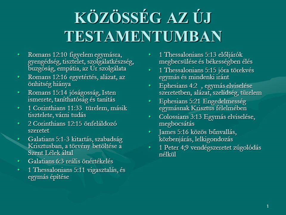 1 KÖZÖSSÉG AZ ÚJ TESTAMENTUMBAN Romans 12:10 figyelem egymásra, gyengédség, tisztelet, szolgálatkészség, buzgóság, empátia, az Úr szolgálataRomans 12:10 figyelem egymásra, gyengédség, tisztelet, szolgálatkészség, buzgóság, empátia, az Úr szolgálata Romans 12:16 egyetértés, alázat, az önhitség hiányaRomans 12:16 egyetértés, alázat, az önhitség hiánya Romans 15:14 jóságosság, Isten ismerete, taníthatóság és tanításRomans 15:14 jóságosság, Isten ismerete, taníthatóság és tanítás 1 Corinthians 11:33 türelem, másik tisztelete, várni tudás1 Corinthians 11:33 türelem, másik tisztelete, várni tudás 2 Corinthians 12:15 önfeláldozó szeretet2 Corinthians 12:15 önfeláldozó szeretet Galatians 5:1-3 kitartás, szabadság Krisztusban, a törvény betöltése a Szent Lélek általGalatians 5:1-3 kitartás, szabadság Krisztusban, a törvény betöltése a Szent Lélek által Galatians 6:3 reális önértékelésGalatians 6:3 reális önértékelés 1 Thessalonians 5:11 vigasztalás, és egymás építése1 Thessalonians 5:11 vigasztalás, és egymás építése 1 Thessalonians 5:13 előljárók megbecsülése és békességben élés 1 Thessalonians 5:15 jóra törekvés egymás és mindenki iránt Ephesians 4:2, egymás elviselése szeretetben, alázat, szelídség, türelem Ephesians 5:21 Engedelmesség egymásnak Krisztus félelmében Colossians 3:13 Egymás elviselése, megbocsátás James 5:16 közös bűnvallás, közbenjárás, lelkigondozás 1 Peter 4;9 vendégszeretet zúgolódás nélkül
