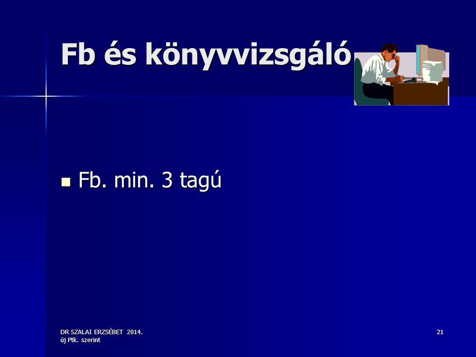 DR SZALAI ERZSÉBET 2014. új Ptk. szerint 21 Fb és könyvvizsgáló Fb. min. 3 tagú Fb. min. 3 tagú