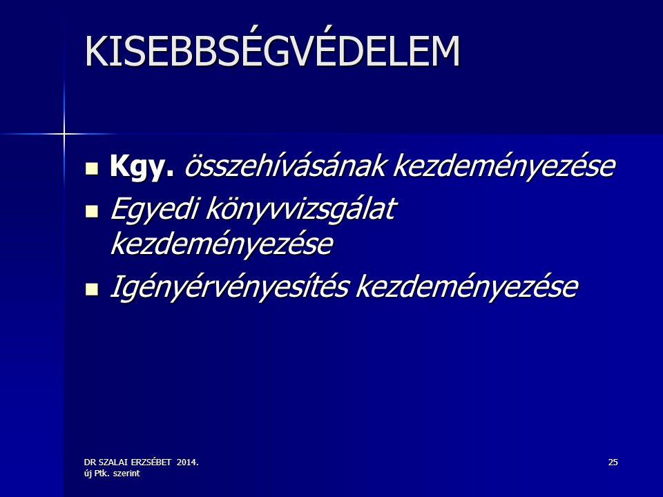 DR SZALAI ERZSÉBET 2014. új Ptk. szerint 25 KISEBBSÉGVÉDELEM Kgy. összehívásának kezdeményezése Kgy. összehívásának kezdeményezése Egyedi könyvvizsgál