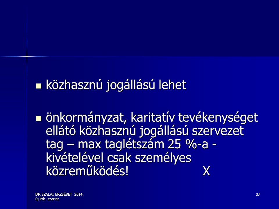 DR SZALAI ERZSÉBET 2014. új Ptk. szerint 37 közhasznú jogállású lehet közhasznú jogállású lehet önkormányzat, karitatív tevékenységet ellátó közhasznú