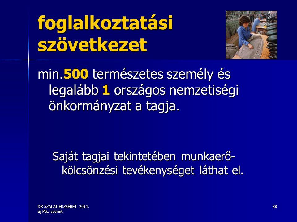 DR SZALAI ERZSÉBET 2014. új Ptk. szerint 38 foglalkoztatási szövetkezet min.500 természetes személy és legalább 1 országos nemzetiségi önkormányzat a