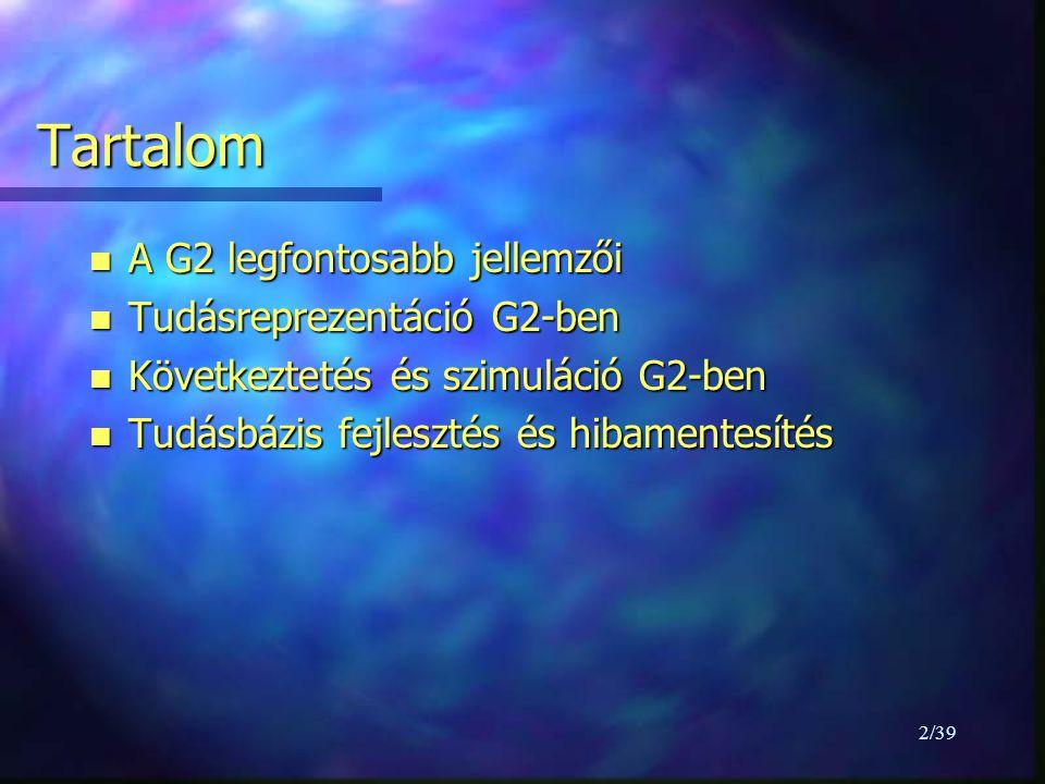 23/39 G2 szimulátor -1 n speciális adatszolgáltató (szimulált érték) n algebrai, differencia és elsőrendű differenciál egyenleteket old meg n változókhoz specifikus szimulációs formulák, változó osztályokhoz generikus szimulációs formulák n párhuzamosan működhet más valós idejű folyamatokkal n tesztelés, szimulált érték szolgáltatás