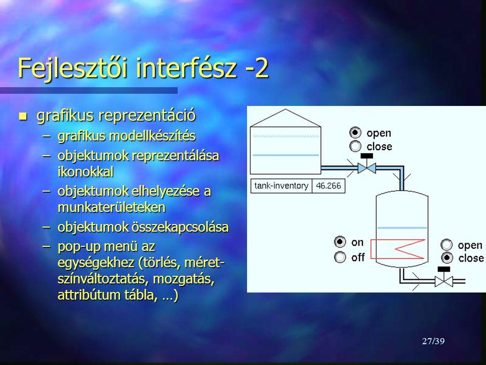 27/39 Fejlesztői interfész -2 n grafikus reprezentáció –grafikus modellkészítés –objektumok reprezentálása ikonokkal –objektumok elhelyezése a munkaterületeken –objektumok összekapcsolása –pop-up menü az egységekhez (törlés, méret- színváltoztatás, mozgatás, attribútum tábla, …)