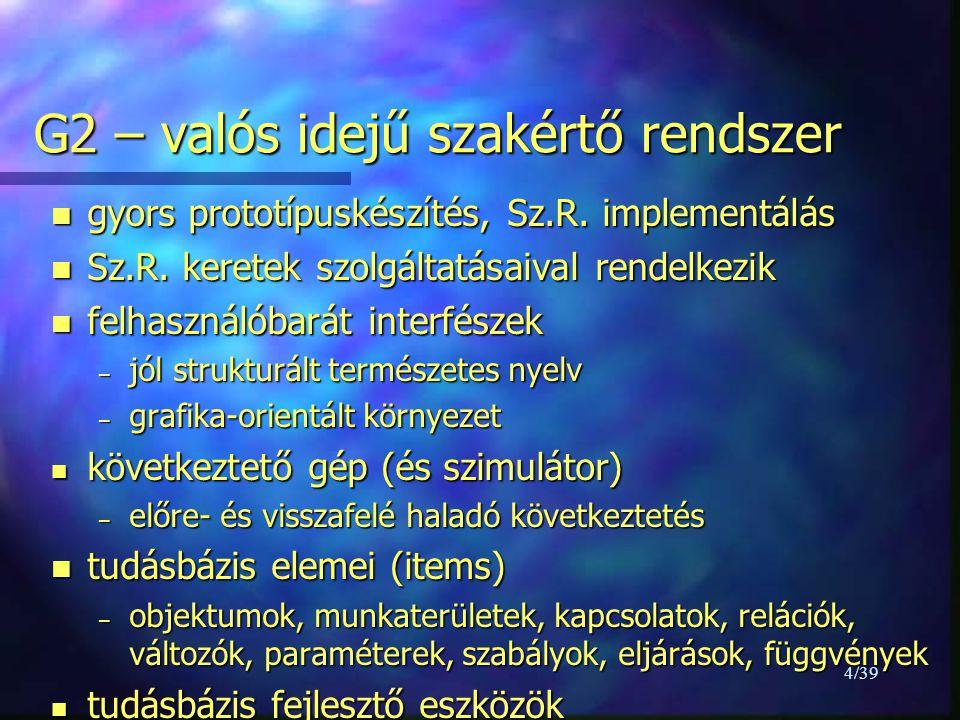 """15/39 Szabályok - 2 –""""when szabályok (következtetésben nem használhatóak) for any container-or-vessel CV when the value of the inventory of CV = 0 then conclude that the temperature of CV has no value –""""initial szabályok (TB indításakor meghívandó szabályok) initially for any container-or-vessel CV if the inventory of CV > 0 then conclude that the temperature of CV = 15"""
