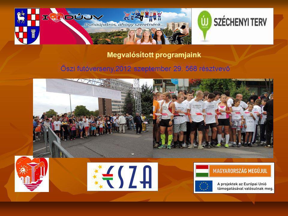 Megvalósított programjaink Őszi futóverseny,2012 szeptember 29. 568 résztvevő