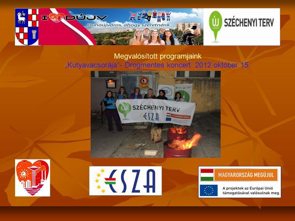 """Megvalósított programjaink """"Kutyavacsorája - Drogmentes koncert 2012 október 15."""