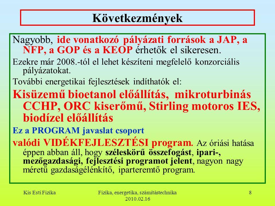 Kis Esti FizikaFizika, energetika, számítástechnika 2010.02.16 8 Következmények Nagyobb, ide vonatkozó pályázati források a JAP, a NFP, a GOP és a KEOP érhetők el sikeresen.
