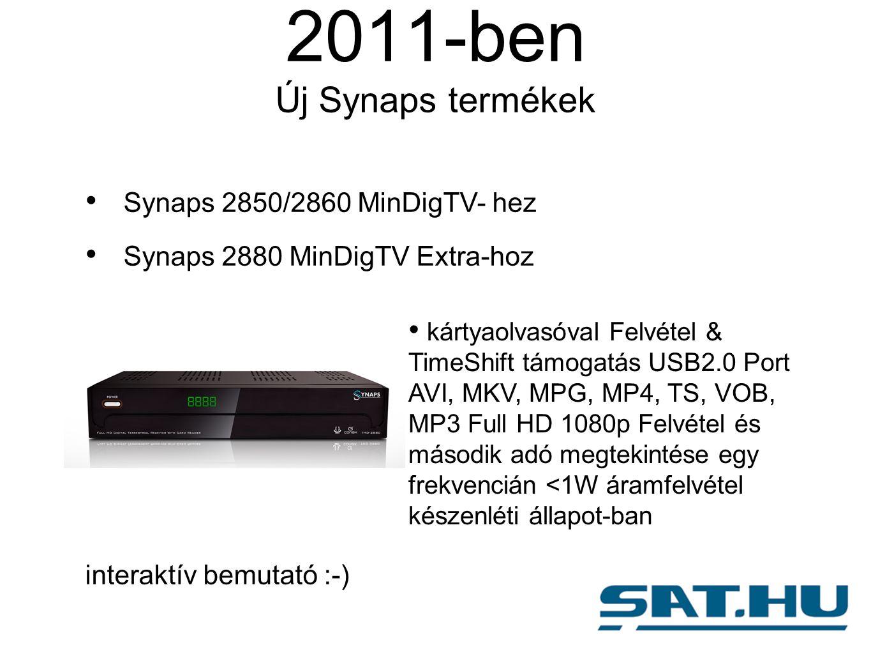 2011-ben Új Synaps termékek Synaps 2850/2860 MinDigTV- hez Synaps 2880 MinDigTV Extra-hoz interaktív bemutató :-) kártyaolvasóval Felvétel & TimeShift támogatás USB2.0 Port AVI, MKV, MPG, MP4, TS, VOB, MP3 Full HD 1080p Felvétel és második adó megtekintése egy frekvencián <1W áramfelvétel készenléti állapot-ban