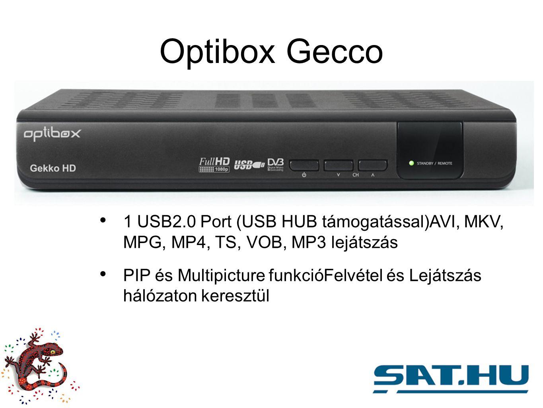 Optibox Gecco 1 USB2.0 Port (USB HUB támogatással)AVI, MKV, MPG, MP4, TS, VOB, MP3 lejátszás PIP és Multipicture funkcióFelvétel és Lejátszás hálózaton keresztül