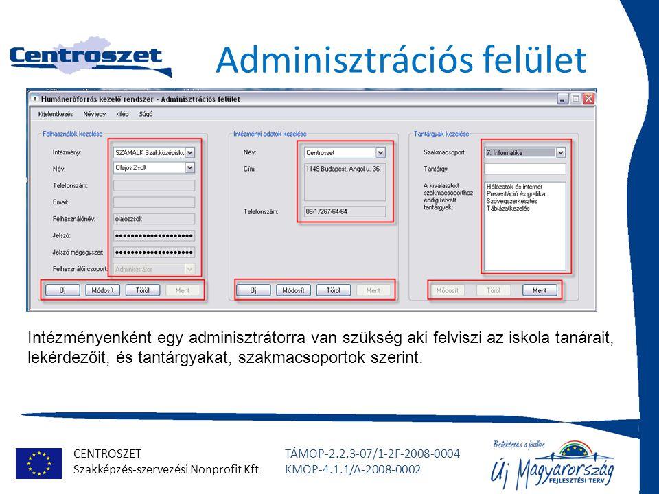 CENTROSZET Szakképzés-szervezési Nonprofit Kft TÁMOP-2.2.3-07/1-2F-2008-0004 KMOP-4.1.1/A-2008-0002 Adminisztrációs felület Intézményenként egy admini