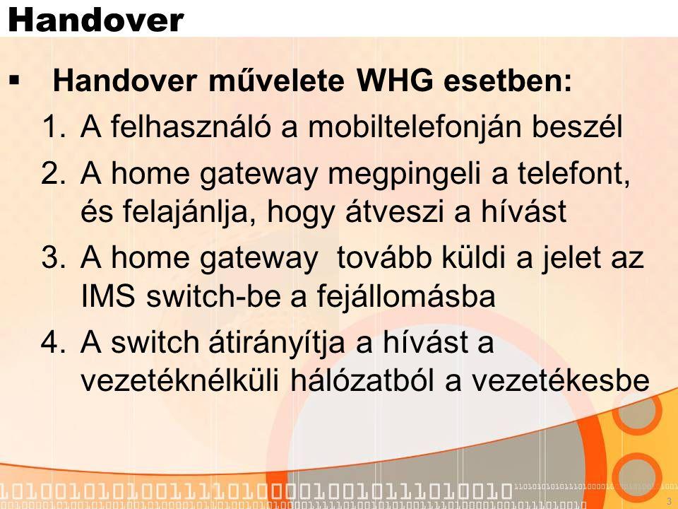 3 Handover  Handover művelete WHG esetben: 1.A felhasználó a mobiltelefonján beszél 2.A home gateway megpingeli a telefont, és felajánlja, hogy átveszi a hívást 3.A home gateway tovább küldi a jelet az IMS switch-be a fejállomásba 4.A switch átirányítja a hívást a vezetéknélküli hálózatból a vezetékesbe