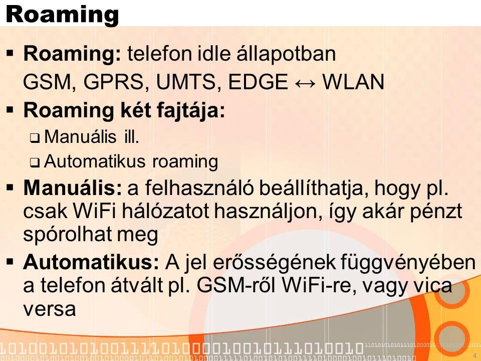 4 Roaming  Roaming: telefon idle állapotban GSM, GPRS, UMTS, EDGE ↔ WLAN  Roaming két fajtája:  Manuális ill.  Automatikus roaming  Manuális: a f