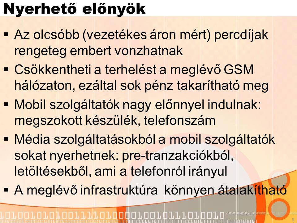 9 Nyerhető előnyök  Az olcsóbb (vezetékes áron mért) percdíjak rengeteg embert vonzhatnak  Csökkentheti a terhelést a meglévő GSM hálózaton, ezáltal sok pénz takarítható meg  Mobil szolgáltatók nagy előnnyel indulnak: megszokott készülék, telefonszám  Média szolgáltatásokból a mobil szolgáltatók sokat nyerhetnek: pre-tranzakciókból, letöltésekből, ami a telefonról irányul  A meglévő infrastruktúra könnyen átalakítható