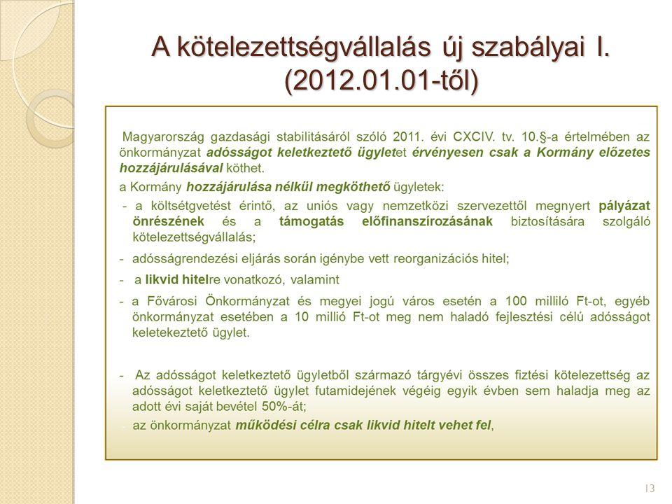 A kötelezettségvállalás új szabályai I. (2012.01.01-től) 13