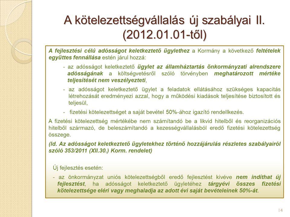 A kötelezettségvállalás új szabályai II. (2012.01.01-től) 14