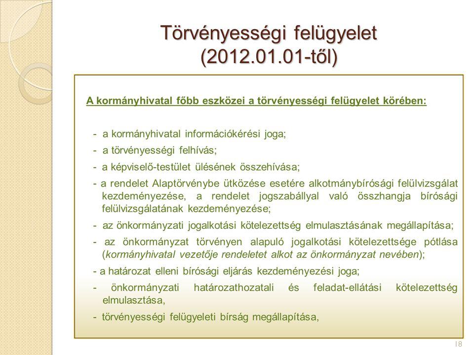 Törvényességi felügyelet (2012.01.01-től) 18