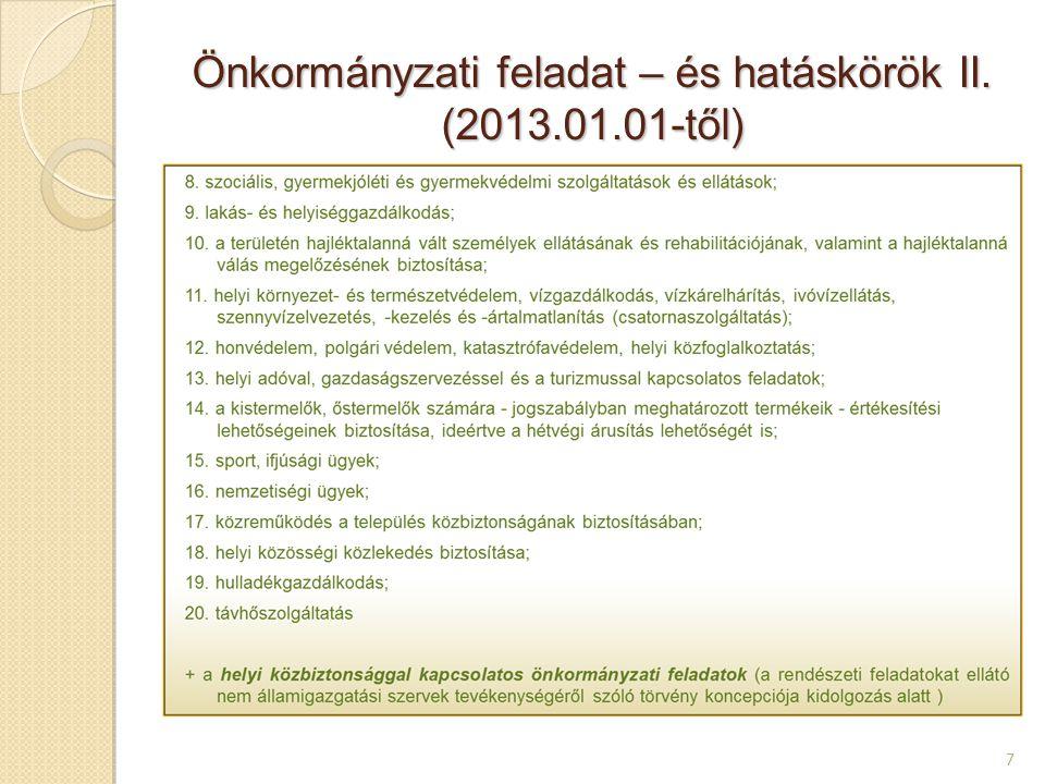 Települési önkormányzatok; a főváros, mint települési és területi önkormányzat (2013.01.01-től) 8