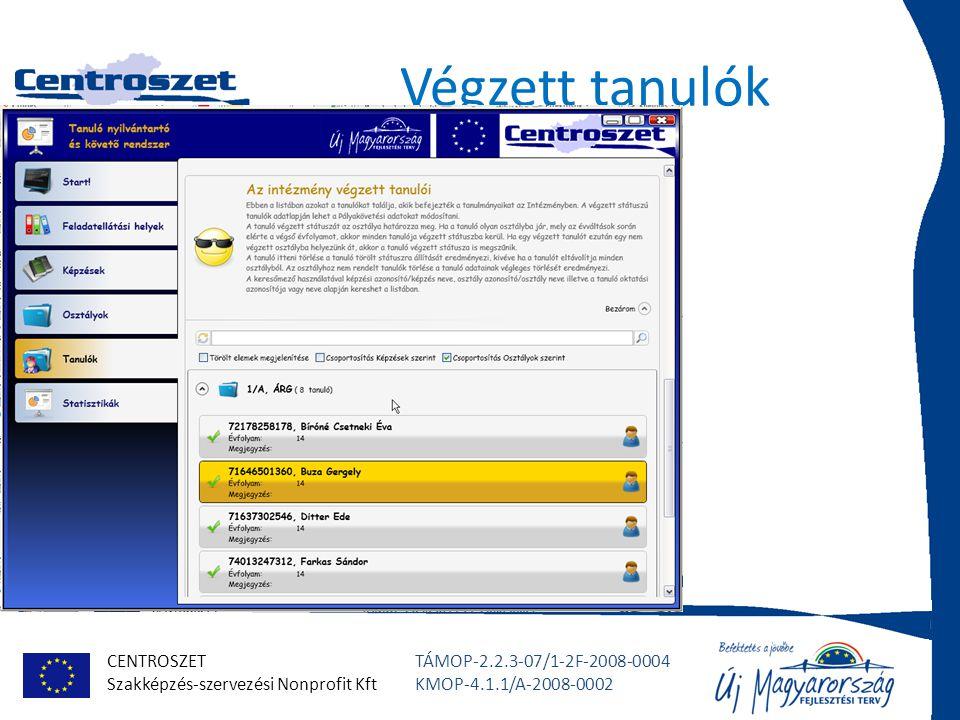 CENTROSZET Szakképzés-szervezési Nonprofit Kft TÁMOP-2.2.3-07/1-2F-2008-0004 KMOP-4.1.1/A-2008-0002 Végzett tanulók