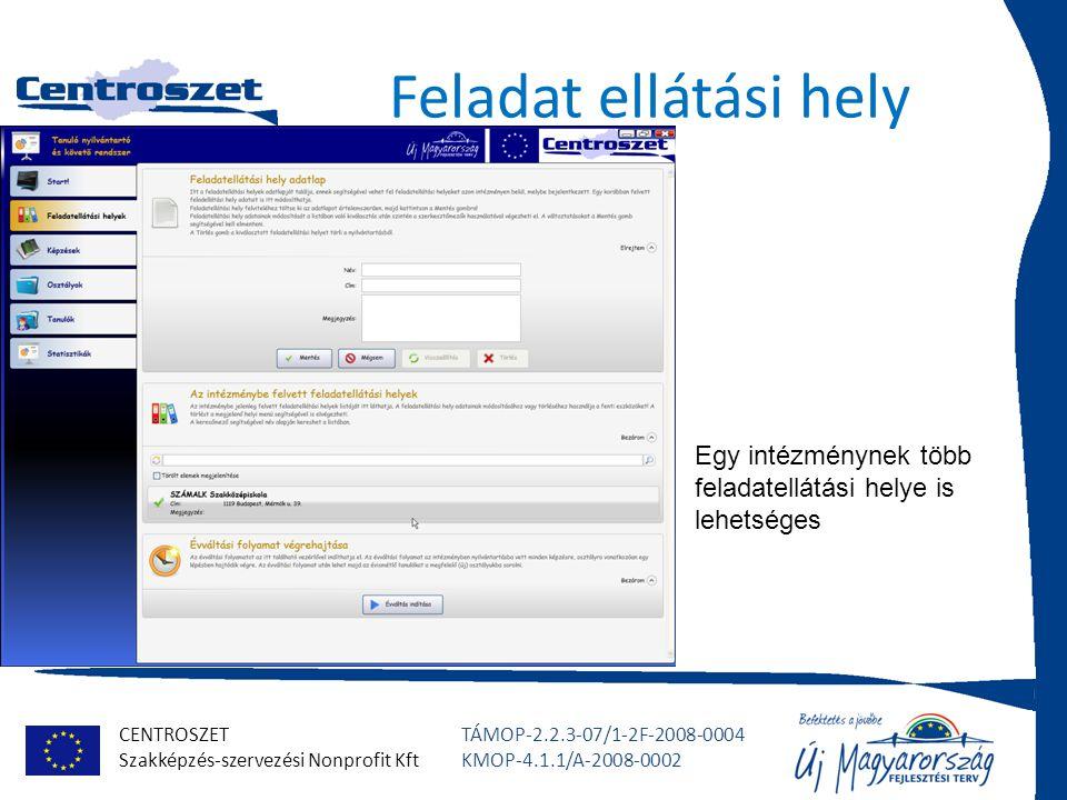 CENTROSZET Szakképzés-szervezési Nonprofit Kft TÁMOP-2.2.3-07/1-2F-2008-0004 KMOP-4.1.1/A-2008-0002 Feladat ellátási hely Egy intézménynek több feladatellátási helye is lehetséges