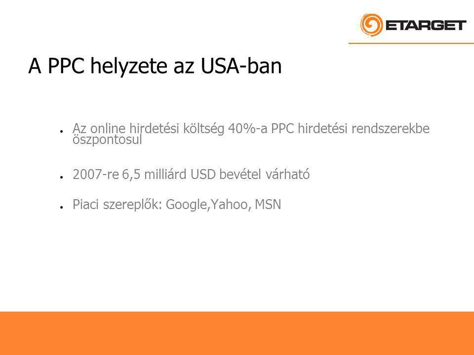 A PPC helyzete az USA-ban ● Az online hirdetési költség 40%-a PPC hirdetési rendszerekbe öszpontosul ● 2007-re 6,5 milliárd USD bevétel várható ● Piaci szereplők: Google,Yahoo, MSN