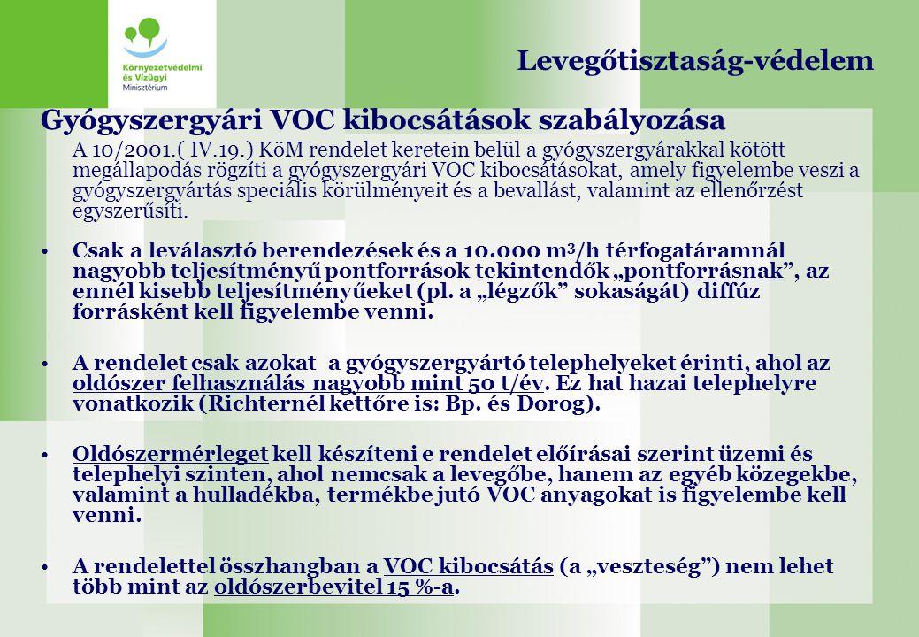 Gyógyszergyári VOC kibocsátások szabályozása A 10/2001.( IV.19.) KöM rendelet keretein belül a gyógyszergyárakkal kötött megállapodás rögzíti a gyógys
