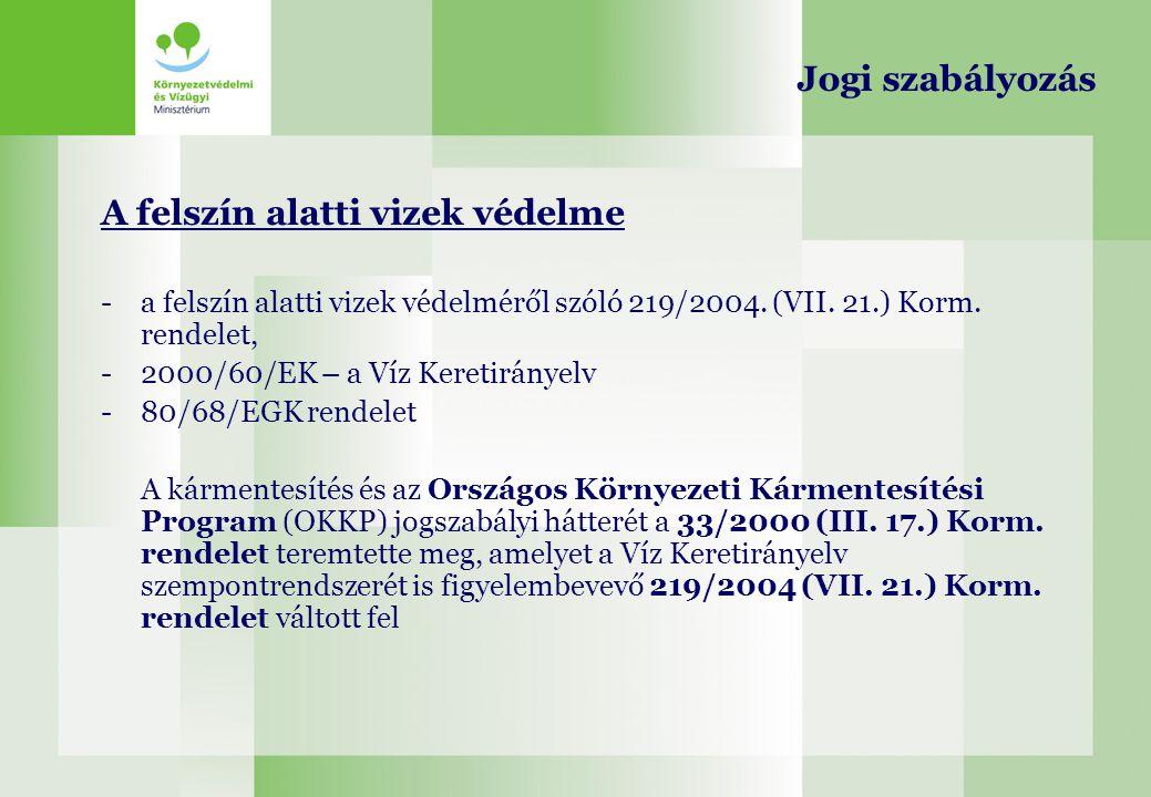 A felszín alatti vizek védelme -a felszín alatti vizek védelméről szóló 219/2004. (VII. 21.) Korm. rendelet, -2000/60/EK – a Víz Keretirányelv -80/68/