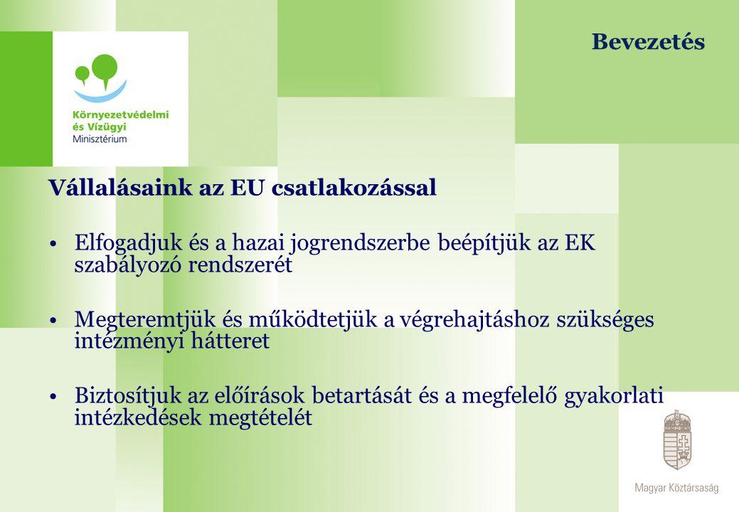 Bevezetés Vállalásaink az EU csatlakozással Elfogadjuk és a hazai jogrendszerbe beépítjük az EK szabályozó rendszerét Megteremtjük és működtetjük a vé