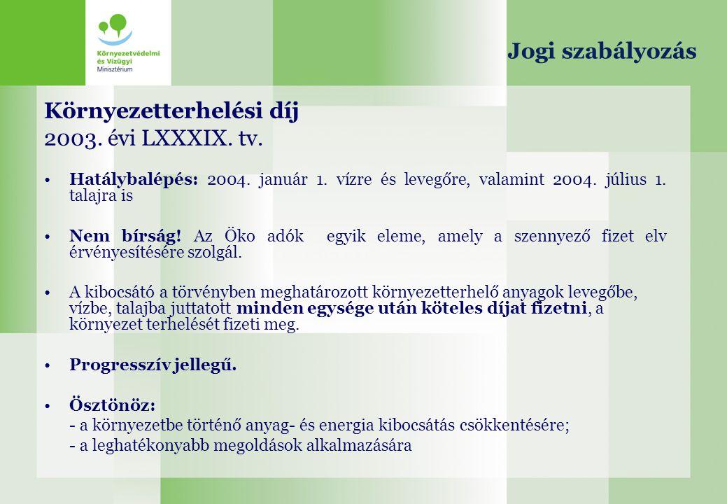 Környezetterhelési díj 2003. évi LXXXIX. tv. Hatálybalépés: 2004. január 1. vízre és levegőre, valamint 2004. július 1. talajra is Nem bírság! Az Öko