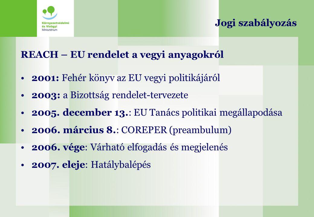 REACH – EU rendelet a vegyi anyagokról 2001: Fehér könyv az EU vegyi politikájáról 2003: a Bizottság rendelet-tervezete 2005. december 13.: EU Tanács