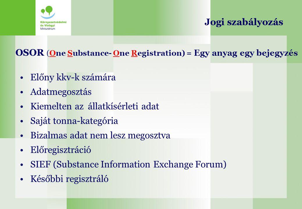 OSOR (One Substance- One Registration) = Egy anyag egy bejegyzés Előny kkv-k számára Adatmegosztás Kiemelten az állatkísérleti adat Saját tonna-kategó