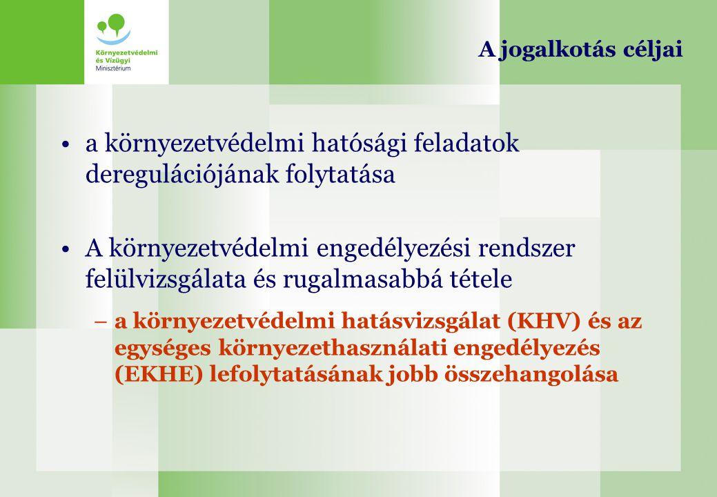 A jogalkotás céljai a környezetvédelmi hatósági feladatok deregulációjának folytatása A környezetvédelmi engedélyezési rendszer felülvizsgálata és rug