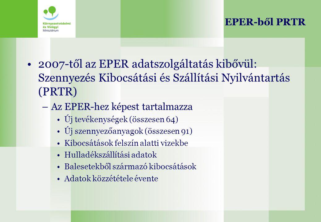 EPER-ből PRTR 2007-től az EPER adatszolgáltatás kibővül: Szennyezés Kibocsátási és Szállítási Nyilvántartás (PRTR) –Az EPER-hez képest tartalmazza Új