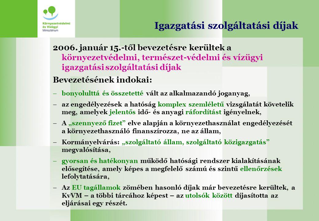 Igazgatási szolgáltatási díjak 2006. január 15.-től bevezetésre kerültek a környezetvédelmi, természet-védelmi és vízügyi igazgatási szolgáltatási díj