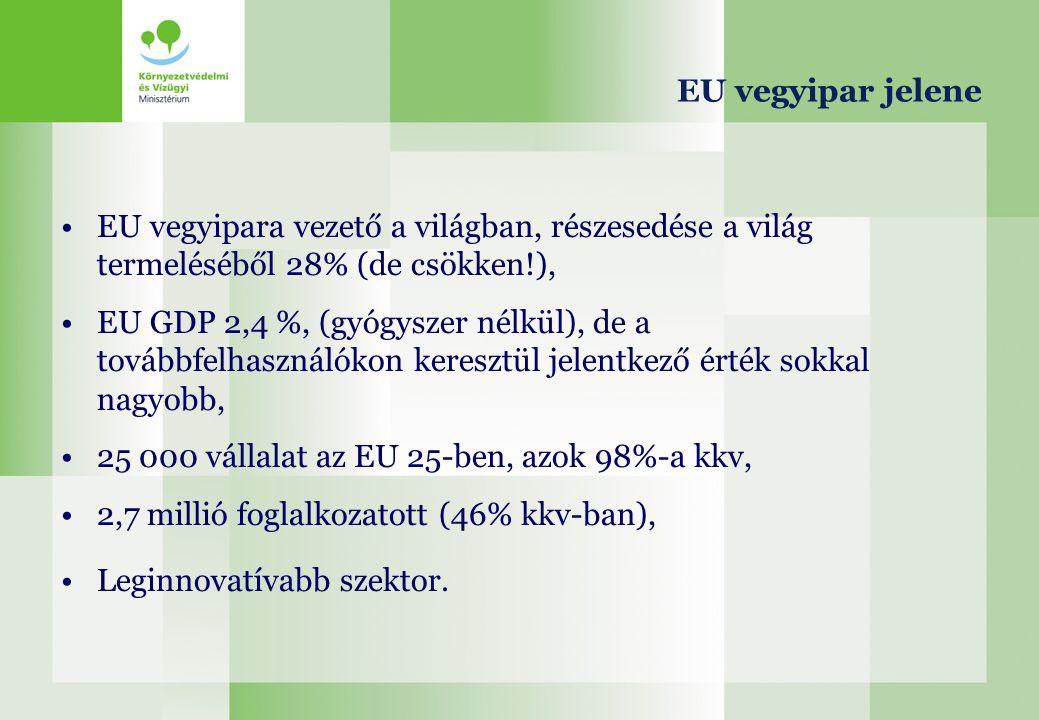 EU vegyipar jelene EU vegyipara vezető a világban, részesedése a világ termeléséből 28% (de csökken!), EU GDP 2,4 %, (gyógyszer nélkül), de a továbbfe
