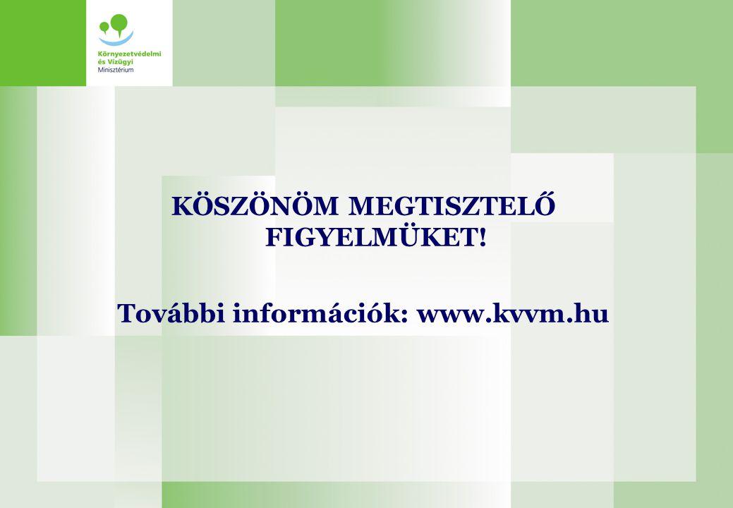 KÖSZÖNÖM MEGTISZTELŐ FIGYELMÜKET! További információk: www.kvvm.hu