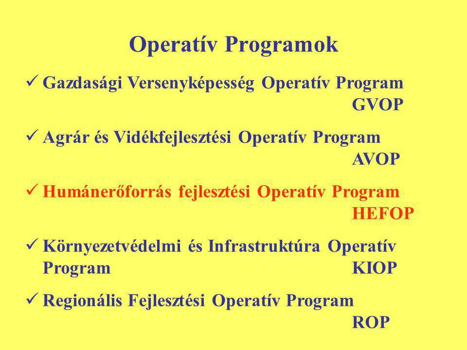 Operatív Programok Gazdasági Versenyképesség Operatív Program GVOP Agrár és Vidékfejlesztési Operatív Program AVOP Humánerőforrás fejlesztési Operatív Program HEFOP Környezetvédelmi és Infrastruktúra Operatív ProgramKIOP Regionális Fejlesztési Operatív Program ROP