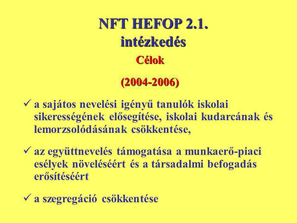 NFT HEFOP 2.1. intézkedés Célok(2004-2006) a sajátos nevelési igényű tanulók iskolai sikerességének elősegítése, iskolai kudarcának és lemorzsolódásán