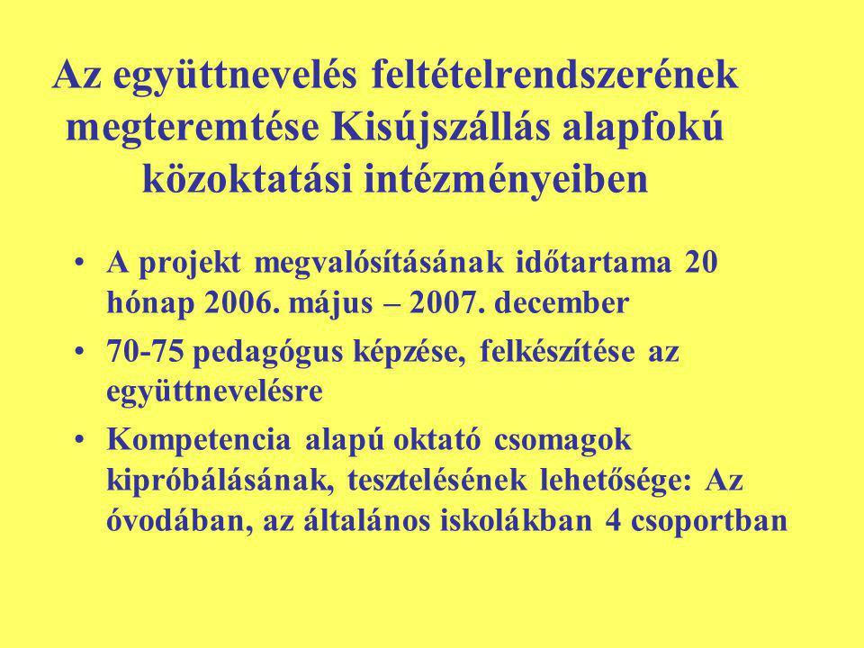 Az együttnevelés feltételrendszerének megteremtése Kisújszállás alapfokú közoktatási intézményeiben A projekt megvalósításának időtartama 20 hónap 2006.