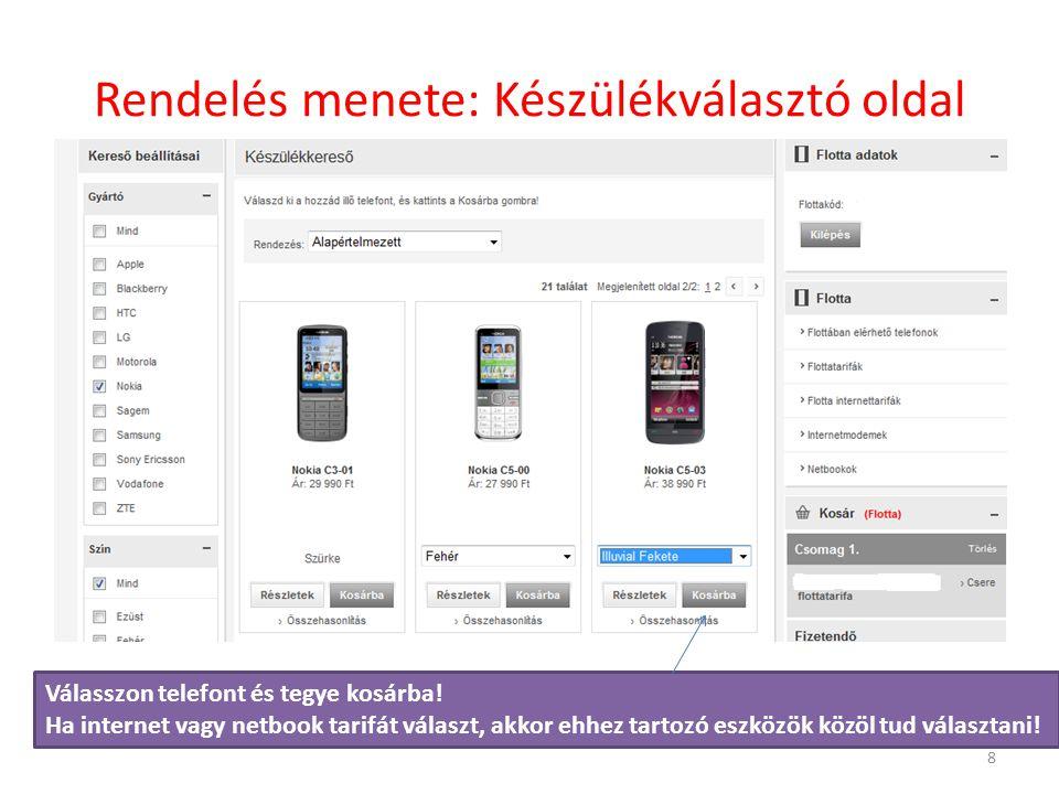 Rendelés menete: Készülékválasztó oldal Válasszon telefont és tegye kosárba.