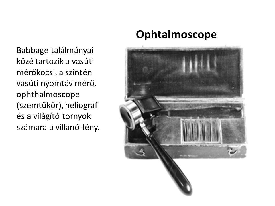 Ophtalmoscope Babbage találmányai közé tartozik a vasúti mérőkocsi, a szintén vasúti nyomtáv mérő, ophthalmoscope (szemtükör), heliográf és a világító