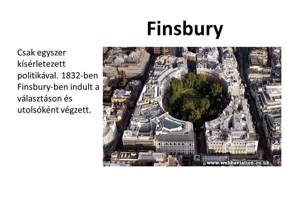 Finsbury Csak egyszer kísérletezett politikával. 1832-ben Finsbury-ben indult a választáson és utolsóként végzett.