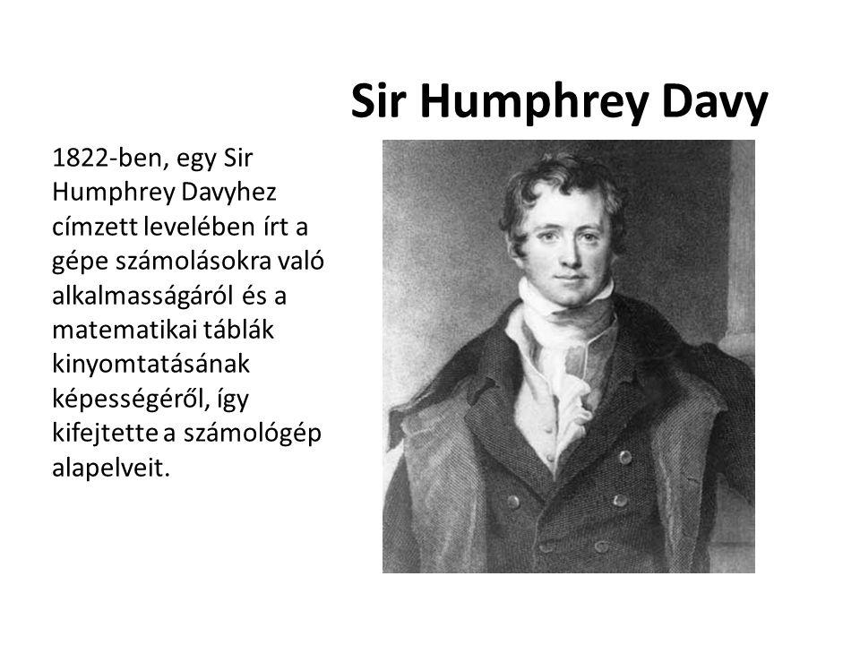 Sir Humphrey Davy 1822-ben, egy Sir Humphrey Davyhez címzett levelében írt a gépe számolásokra való alkalmasságáról és a matematikai táblák kinyomtatá