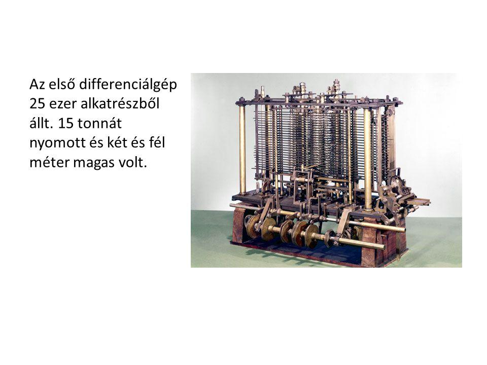 Az első differenciálgép 25 ezer alkatrészből állt. 15 tonnát nyomott és két és fél méter magas volt.