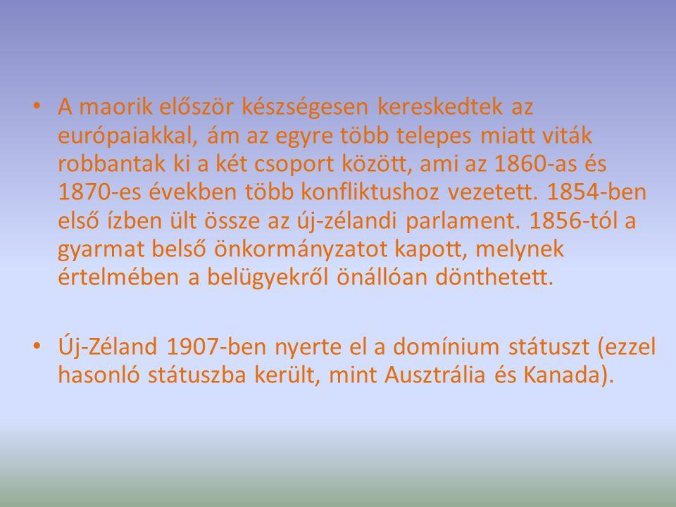 A maorik először készségesen kereskedtek az európaiakkal, ám az egyre több telepes miatt viták robbantak ki a két csoport között, ami az 1860-as és 18