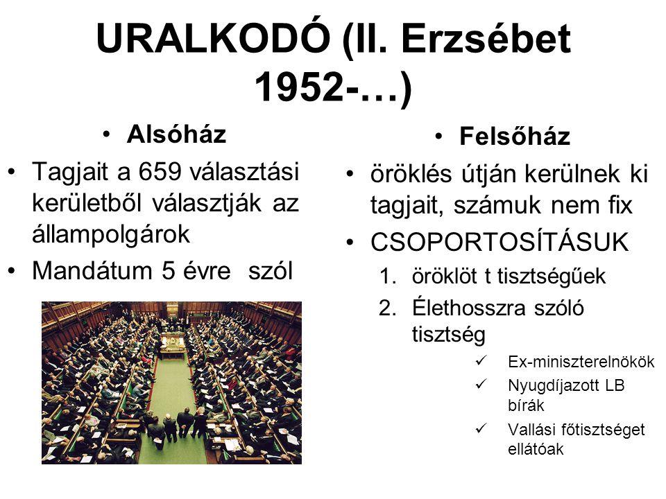 URALKODÓ (II. Erzsébet 1952-…) Alsóház Tagjait a 659 választási kerületből választják az állampolgárok Mandátum 5 évre szól Felsőház öröklés útján ker