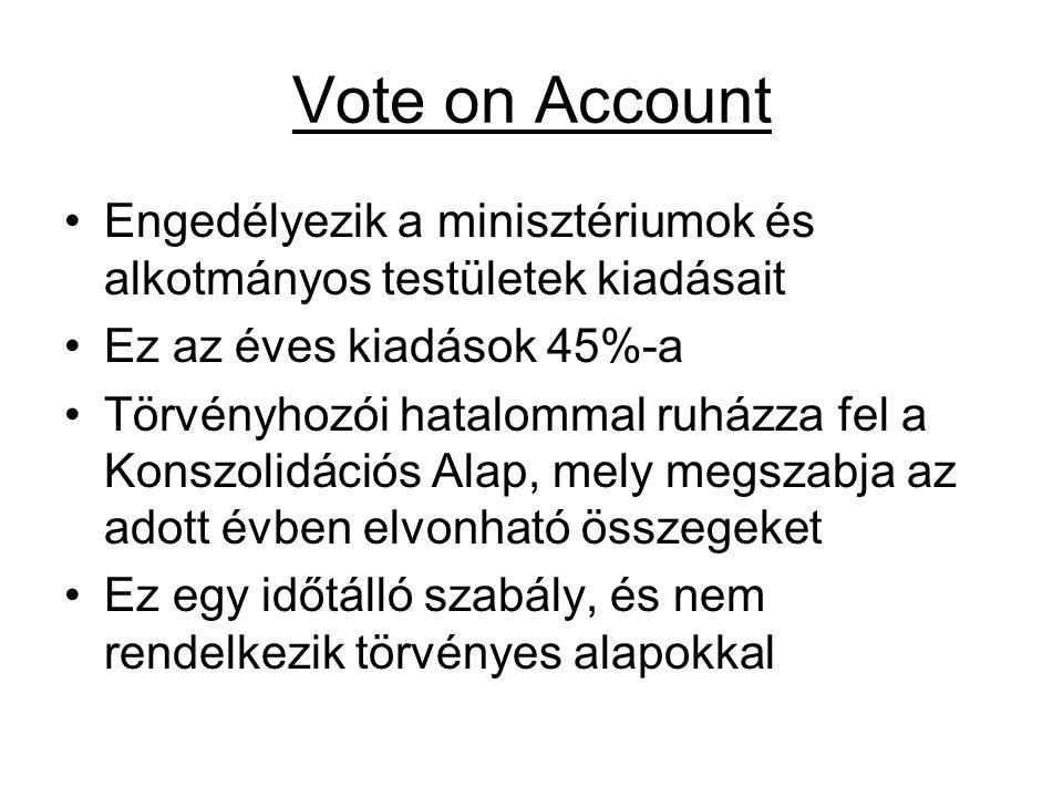 Vote on Account Engedélyezik a minisztériumok és alkotmányos testületek kiadásait Ez az éves kiadások 45%-a Törvényhozói hatalommal ruházza fel a Kons