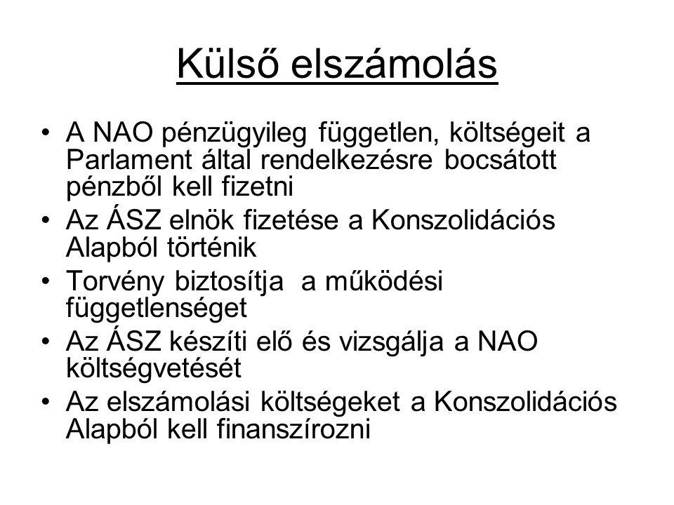 Külső elszámolás A NAO pénzügyileg független, költségeit a Parlament által rendelkezésre bocsátott pénzből kell fizetni Az ÁSZ elnök fizetése a Konszo