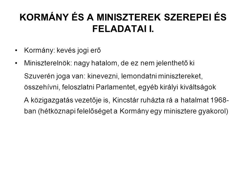 KORMÁNY ÉS A MINISZTEREK SZEREPEI ÉS FELADATAI I. Kormány: kevés jogi erő Miniszterelnök: nagy hatalom, de ez nem jelenthető ki Szuverén joga van: kin